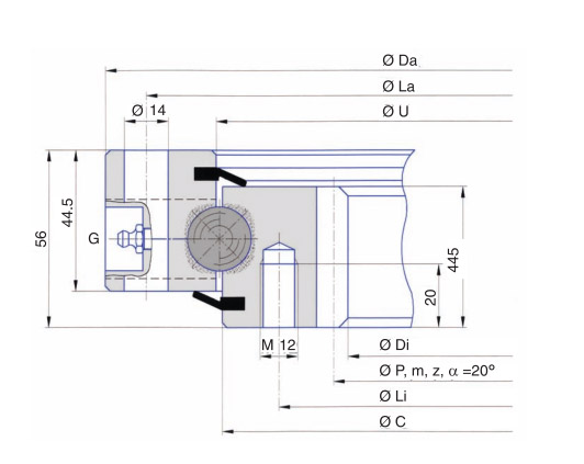 I.1166.20.00.B slewing bearing for excavator