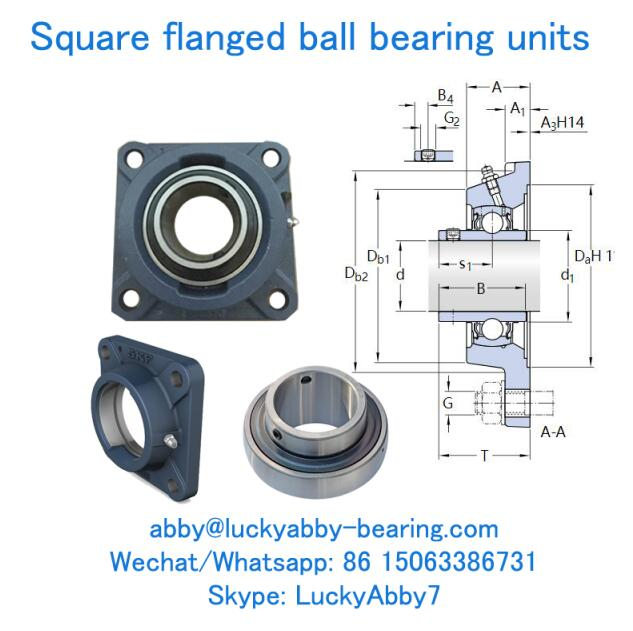 FY 60 TF, FY512M+YAR212-2F Square Flanged Cast Housing with Ball bearing units