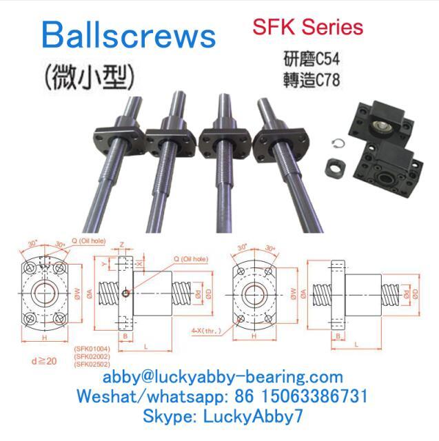 SFK0082.5 Miniature Type Ballscrews 8mmx16/29mmx26mm