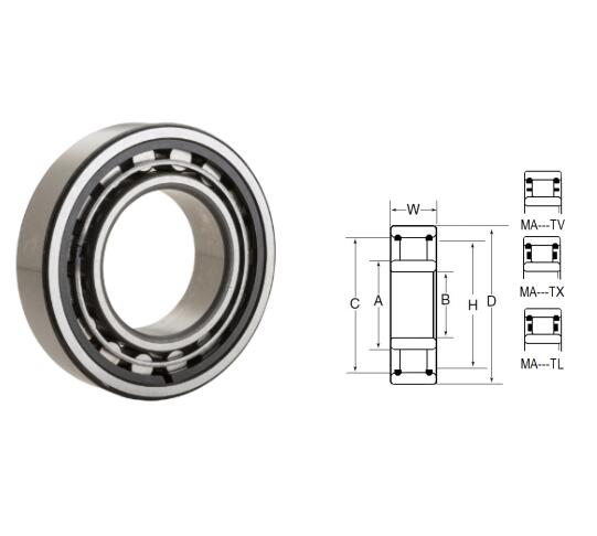 MA5308TL Cylindrical Roller Bearings 40x90x36.512mm