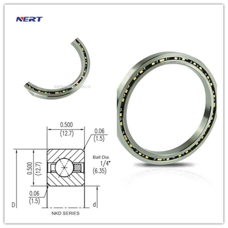 KD080CP0 Thin-Walled Robotic Joint Bearings Size 203.2 x 228.6 x 12.7mm