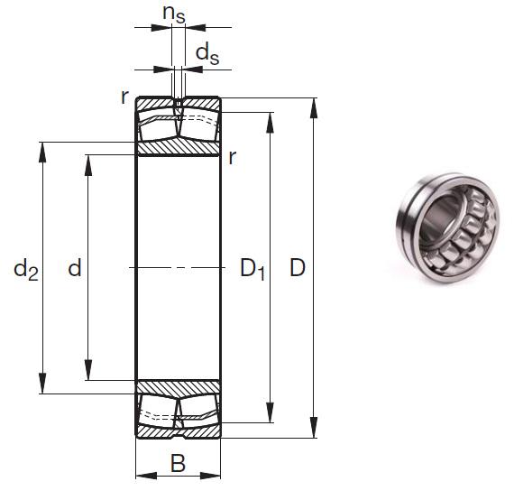 22206-E1 Spherical Roller Bearings 30*62*20mm