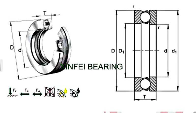 8208H 51208M Thrust Ball Bearings 40X68X19mm