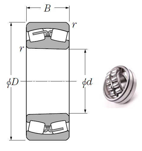 24128BK30 Spherical Roller Bearings 140*225*85mm
