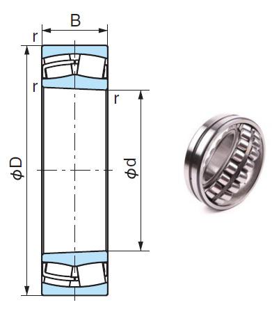 24122EX1K Spherical Roller Bearings 110*180*69mm