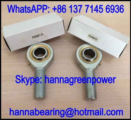 POSB8L Left Hand Rod End Bearing with Male Thread 12.7x33.32x78.59mm